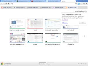 Google Chrome Interface setelah proses Sign In selesai