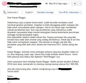 Email Brief dan Fee